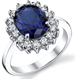 Ultimate Metals Co. Kate Middleton Bague Argent 925/1000 Saphir Bleu Zirconia Cubique