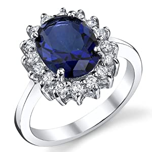 Solid Sterling Silver Kate Middleton's Engagement Ring with Blue Sapphire Cubic Zirconia Replica Size 6
