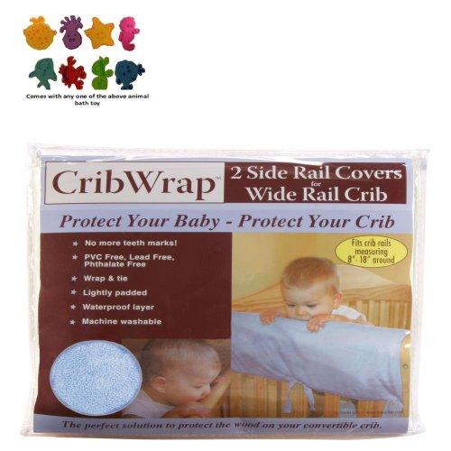 Cribwrap¨ Wide Rail Cover - Short Blue Fleece & Purchasecorner Toy Bundle front-78278