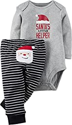 Carter\'s Baby Boys\' Christmas 2-Piece Bodysuit & Pant Set (3 Months, Grey Santa)