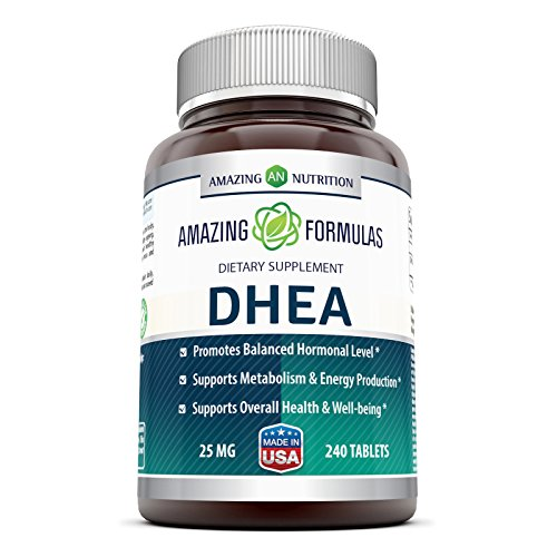 Amazing Formulas DHEA Supplement - 25mg 240 Tablets- Dehydroepiandrosterone Hormone Tablets for Men and Women - Easier to Use Than Cream and Powder Products