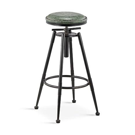 MNII Taburetes de cocina retro con patas de metal Taburetes de barra alta barra de asiento de de PU, giro de 360 grados Puede levantar y bajar y silla fija, altura 68-90cm / 98-120cm , 3