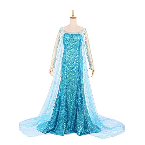 Halloween Women Ice Princess Snow Queen Elsa Cosplay Costume Party Dress (L)