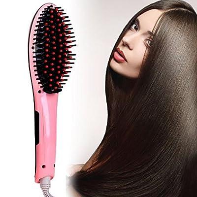 Noza Tec White Brush Hair Straightener 29W Digital Anti Scald Anti Static Ceramic Heating Detangling Hair Brush For Instant Magic Silky Straight Styling Massage Straightening Iron