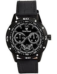 Swiss Grand SG-1159 Black Coloured With Black Leather Strap Analog Quartz Watch For Men