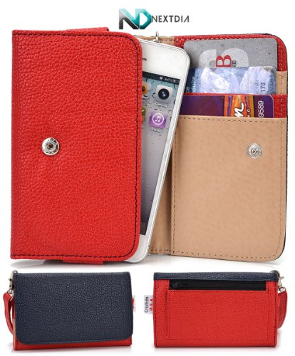 Samsung Galaxy Pocket Plus S5301 Phone Wallet Cover Case (Sailor Nautical Navy Blue Red) + Nd Velcro Tie front-1059851