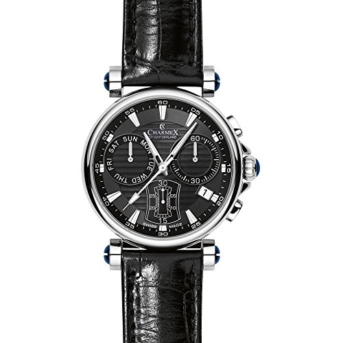 Charmex Fifth Avenue 2581 40mm Stainless Steel Case Black Calfskin Synthetic Sapphire Men's Watch