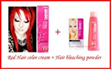 Red Hair Dye Color Cream Permanent Emo Goth Punk Crazy Salon + Bleaching Powder