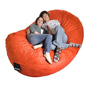 8' Oval Pumpkin Orange SLACKER sack foam Bean Bag Couch XXL Beanbag Chair