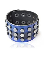 Bikers Blue Jeans Print Genuine Leather Riveted Bracelet For Men By Via Mazzini