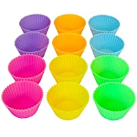 Silicone Baking Cups - Standard Size (2.6W x 1.3H inches) - 12 Pack