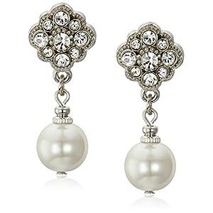1928 Bridal Amore Simulated Pearl Drop Earrings