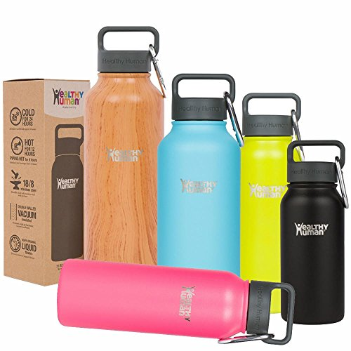 Healthy Human 21 oz Water Bottle - Cold 24 Hrs, Hot 12 Hrs. 4 Sizes & 12 Colors. Double Walled Vacuum Insulated Stainless Steel Thermos Flask with Carabiner & Hydro Guide. Color: Black Tie (21 Oz Glasses With Lids compare prices)