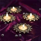 Smoky Crystal Diya With T-Light- Set Of Four Gold Plates