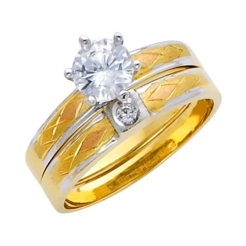 14K 3 Tri-color Gold High Poliosh Finish Round-cut Top Quality Shines CZ Cubic Ziconia Solitaire Ladies Engagement Ring and Wedding Band 2 Two Piece Set - Size 7.5