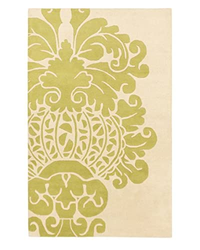 Handmade Soho Flower Rug, Cream/Light Green, 5' x 8'