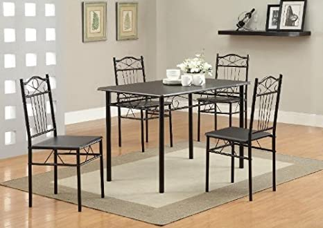 Coaster Home Furnishings 120573 5-Piece Casual Dining Room Set, Black/Black