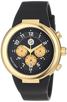 Philip Stein Unisex 32-AGB-RBB Active Gold and Black Chronograph Rubber Strap Watch by Philip Stein
