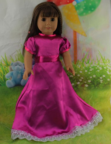Teenitor(TM) Purplish Red Party Dress Fits 18 Inch Girl Dolls (Shipping By FBA) - 1