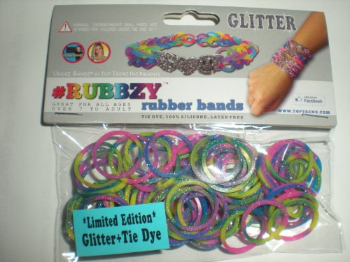 Rubbzy Tie Dye Glitter Pink Purple Yellow Green Loose Rubber Bands