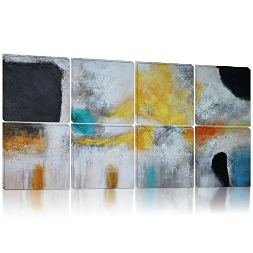 IARTS Tranquil Abstract Art 100% Hand Painted Acrylic Contemporary Oil Paintings Modern Artwork Wall Art for Home Decorations,Rich Color,12X12 Inch,Set of 8,Ready to Hang (Tranquil Pictures compare prices)