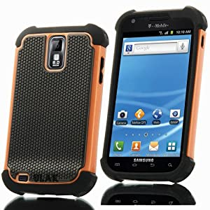 Pandamimi ULAK Orange Hybrid Rugged Rubber Matte Hard Case For Samsung Galaxy S2 II T989 with free Screen Protect