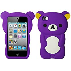 Purple Bear Silicon Soft Rubber Skin Case Cover For iPhone 4 4S with Free Pouch