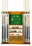 Cue Rack Only - 8 Pool - Billiard Stick & Ball Wall Rack W Clock Choose Oak or Mahogany Finish (Oak)