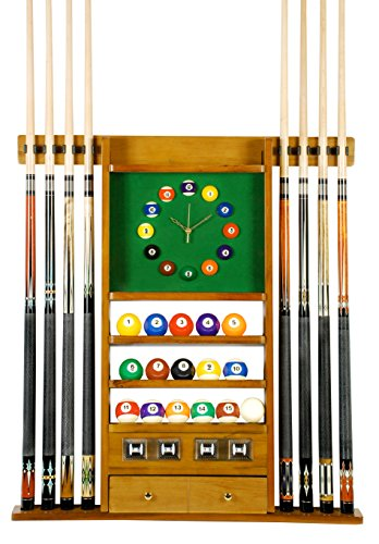 New Cue Rack Only - 8 Pool - Billiard Stick & Ball Set Wall Rack W Clock Oak Finish
