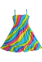 Sunny Fashion Girls Dress Rainbow Smocked Halter