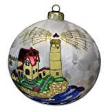 Blown-Glass Ball Ornament - Cape Neddick ME Lighthouse