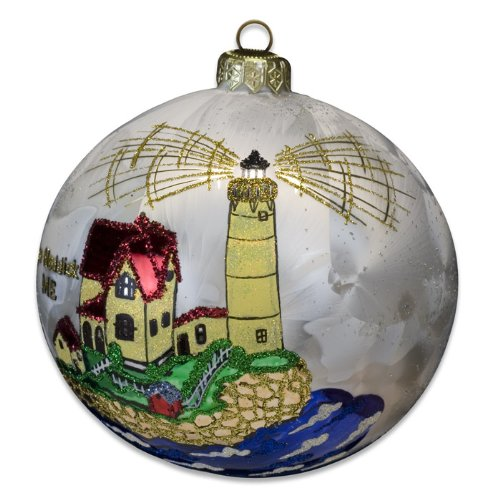 Blown-Glass Ball Ornament - Cape Neddick, Me Lighthouse