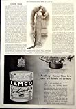 Old Original Antique Victorian Print Graceful Dinner Dress Lemco Extract Soups Sauces Gravies 1912 514P241