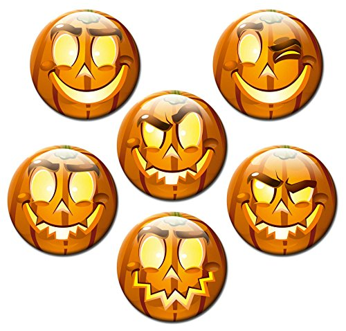 "Smiley Kürbisse - Happy Halloween Magnete 6er-Set Ø 5 cm - Kühlschrankmagnete Halloween Dekoration mit Motiv ""Smileys Happy Halloween Kürbis"" für Magnettafel Pinnwand Magnetpinnwand Memoboard Whiteboard - Original Magnete GUMA Magneticum"