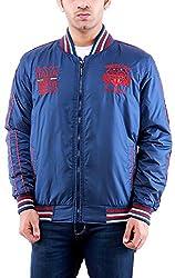 Time Option Men's Polyester Jacket (5006_Blue_42)
