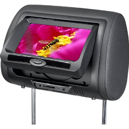 T1 Audio CKO HUDVD-7005 - Twin 7 inch DVD Headrest screens. Includes Games. Trimmed in Black Leather (SOLD AS PAIRS)