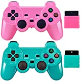 Wireless Controller 2.4G Compatible with Sony Playstation 2 PS2 (Pink+Green)