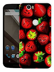 """Strawberry Faces Printed Designer Mobile Back Cover For """"Google Nexus 6 Plus"""" By Humor Gang (3D, Matte Finish, Premium Quality, Protective Snap On Slim Hard Phone Case, Multi Color)"""