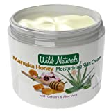 100% Natural Moisturizer Skin Cream By Wild Naturals - With Manuka Honey and Aloe Vera - Very Light, Non-greasy, Absorbs Quickly - All the Nutrients Your Skin Needs - For All Skin Types - Relieves Dry, Red, Irritated, Itchy & Cracked Skin - Natural Psoriasis Treatment, Eczema, Dermatitis, Acne & Rosacea - Antiviral - Restores Skin