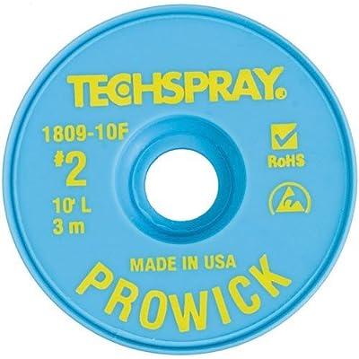 "Techspray 1809-10F Pro Wick Rosin Desoldering Braid, .055"" x 10' on ESD-Safe Spool"