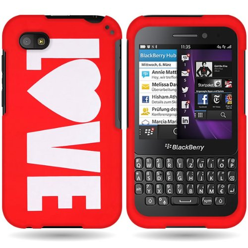 Coveron® Slim Hard Case For Blackberry Q5 With Cover Removal Tool - (Red Love)