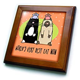 3dRose ft_33981_1 World S Best Cat Mom Cute Cartoon Kittens Pets Animals Framed Tile, 8 by 8\