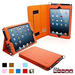 Snugg iPad Mini Leather Case Cover and Flip Stand with Elastic Hand Strap and Premium Nubuck Fibre Interior (Orange) - Automatically Wakes and Puts the iPad Mini to Sleep