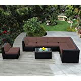ohana collection PN0804B Genuine Ohana Outdoor Patio Wicker Furniture 8-Piece All Weather Gorgeous Couch Set with Free Patio Cover, Brown