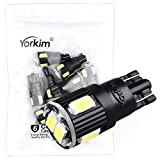 194 LED Light bulb, Yorkim 7th Generation,12V,5730,T10 6-SMD LED Bulb, Replacement and Reverse White Bulbs,Used For Signal Lights, Trunk Lights, Dashboard Lights, Parking Lights(Pack of 10)