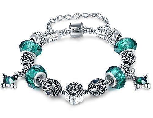 Vintage European Hot Fashion Style Green Murano Glass Charm Heart Beaded Silver Plated Diy Bracelet 7.87 by Aurora Tears