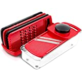 GDL PS-318I Mandoline Slicer, Grate & Slice Set With Food Container, 5-Blade, Black/Red