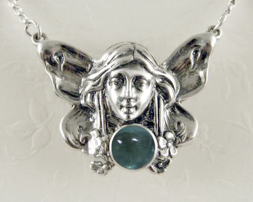 A Beautifully Detailed Sterling Silver Victorian Fairy Accented with Fluorite