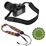 BIRUGEAR Soft Multi-Color Classic Camera Neck Strap + Black Anti-Slip Neoprene Shoulder Strap + CupPad for Canon 70D,100D, 700D, 650D, 600D, 550D, 500D, 350D, 1100D, 60D, 60Da, 6D, SX510 HS, SX500 IS, SX50 HS, G15 ; Nikon Df COOLPIX P7800 D7100 D5300 D52