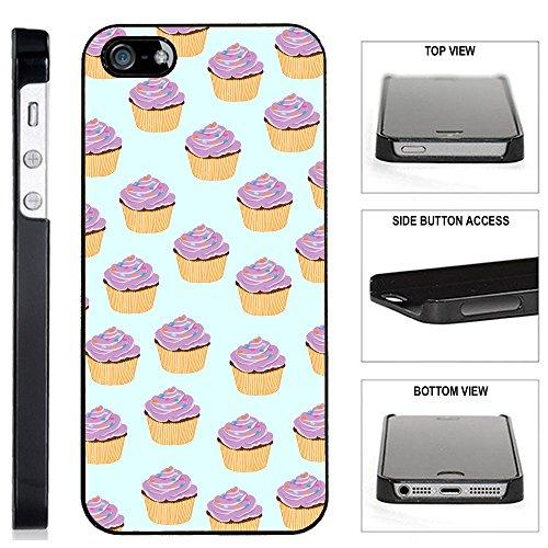 [Teleskins] - Cupcake Pattern Iphone 5 / 5S /SE Black Plastic Case - Ultra Durable Slim & Hard Plastic Protective Vibrant Snap on Designer Back Case / Cover for Girls. [Fits Iphone 5 / 5S / SE]